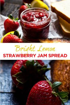 This bright and easy lemon and strawberry jam is a perfect spread for your brunch toast or pancakes. Best Dinner Recipes, Jam Recipes, Canning Recipes, Great Recipes, Breakfast Recipes, Dessert Recipes, Desserts, Good Food, Yummy Food