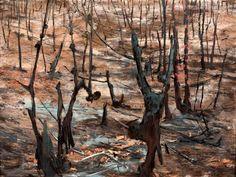 Clifton Pugh. After the Bushfire, 1962. Bushfire in Australian art.