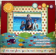 """Bright & Colorful """"Smile"""" Scrapbooking Layout..."""