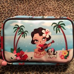 Hula Cutie Makeup Bag This large makeup bag holds a TON!! It has a heart zipper pull too!  Printed all the way around it. New but no tag. Take advantage of my bundle discount too! Fluff Bags Cosmetic Bags & Cases