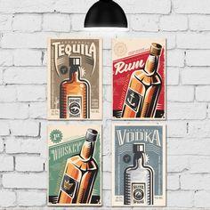 Kit 4 Placas Decorativas Vintage Bebidas Rum, Pure Products, Good Night Sleep, Design Trends, Mosaics, Backgrounds, Vintage Style, Beverages, Pretty