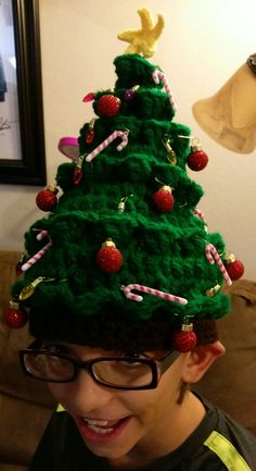 Ugly Sweater Style Christmas Tree Hat Crochet by magicalyarnwizard