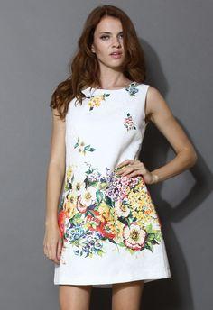 Retro Floral Intarsia Sleeveless Dress