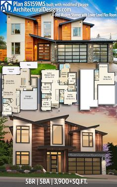 Plan Modern Stunner with Lower Level Flex Room, Sims House Plans, Dream House Plans, House Floor Plans, My Dream Home, Contemporary House Plans, Modern House Plans, Modern House Design, Flex Room, House Blueprints