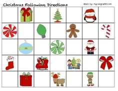 This is a Following Direction Board to print and laminate.  You could use Vis-a-vis markers and just erase and reuse.  Create your own directions for the level of the student.  Ex. Circle the reindeer.  Make a star between the santa and the elf.  Before you circle the Santa, put a line under the candy cane.