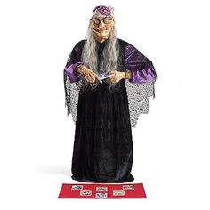 Witch Fortune Teller Crystal Ball Tarot Cards Halloween Prop Animated Gypsy LED