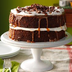 Caramel-Pecan Mocha Layer Cake Recipe -My version of a prize-winning chocolate cake is irresistible, especially when the rich caramel sauce oozes down the sides. —Judy Castranova, New Bern, North Carolina Layer Cake Recipes, Layer Cakes, Dessert Recipes, Potluck Desserts, Thanksgiving Cakes, Impressive Desserts, Pecan Cake, Praline Cake, Decadent Cakes