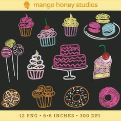 Digital Chalkboard Clipart, Bakery Clip Art, Cupcake Clipart, Cake Clip Art, Food Doodles, Macarons, Donuts, Cake Pops, Chalk Drawings