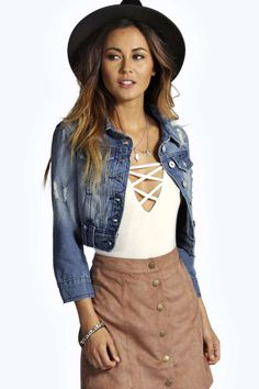 Carley Cropped Slim Fit Denim Jacket alternative image