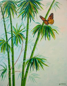 "Original Painting Acrylic Bamboo and Monarch Butterfly Green Orange Relaxing Zen Large Painting 28"" x 22"" Art by Glorianna - $225"