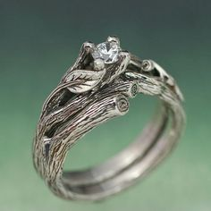 ACADIA WEDDING RING Set - Engagement Ring, Matching Weddng Band, 14k white gold with White Sapphire
