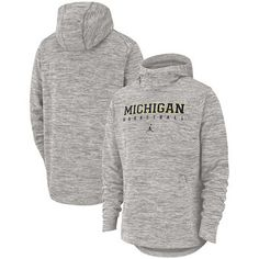 d0f95cee6b9c Michigan Wolverines Jordan Brand Spotlight Pullover Hoodie – Heathered Gray  Michigan Wolverines