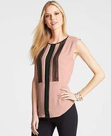 Pintucked Lace Trim Top - Beautiful fabrics and romantic details lend a feminine note to work and weekend looks. Jewel neck. Cap sleeves. Back keyhole with button closure. Shirttail hem.
