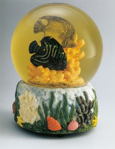 Close-up of a snow globe depicting underwater sea life
