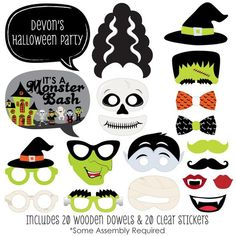 Halloween Monsters Photo Booth Props - Halloween Party Prop Kit with Mustache, Hat, Bow Tie, Glasses and Custom Talk Bubble - 20 Piece Set Halloween Bingo Cards, Halloween Countdown, Halloween Party Favors, Halloween Celebration, Halloween Activities, Family Halloween, Happy Halloween, Halloween Ideas, Monster Photo Booths