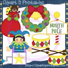 Christmas Goodies 2- #Clipart #ResellableClipart #Christmas #Gifts #Presents #Bear #Wreath #Bow #Drum #NorthPole #Sign #JackInTheBox #Bells