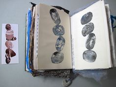 CAROLYN SAXBY MIXED MEDIA TEXTILE ART: Pebble sketchbook - potato printing and playing with plastic cling film
