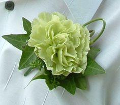 Wedding Flowers - Lime green carnation buttonhole