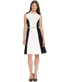 Anne Klein Dress, Sleeveless Colorblock Belted A-Line - Dresses - Women - Macy's
