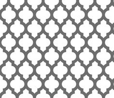 Moroccan quatrefoil lattice - gray on white fabric by spacefem for sale on Spoonflower - custom fabric, wallpaper and wall decals