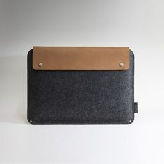 Brown leather with wool felt laptop case