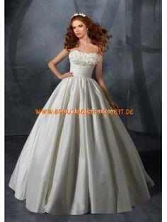 Satin romantisches schönes Brautkleid A-Linie Trägerlos Bodenlang