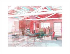 BIM Model overlay in point cloud of artist studio space. Red tint added to point cloud to add contrast between point cloud and the BIM modeling elements.  This study revealed a number of areas that had settled or deflected over time.