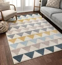 Well Woven Lincoln Modern Scandinavian Triangles Geometric Gold & Blue Area Rug x Area Rug Sizes, Blue Area Rugs, Kids Playroom Rugs, Kids Area Rugs, Loft Playroom, Modern Playroom, Playroom Design, Project, Toy Rooms
