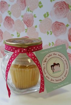 Free Teacher Appreciation Printable Gift Tags - Cupcake in a jar