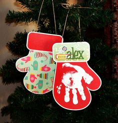 Christmas Idea.  Mitten Ornament with hand print.  Idea Only, no instructions