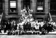 A Great Day in Harlem 1958 is a 1958 black and white group portrait of 57 notable jazz musicians on a street in Harlem, NYC. The musicians had gathered on 126th St, between Fifth and Madison Aves in Harlem.