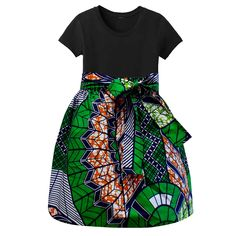 Abina African Print Full Skirt for Little Girls (Green/Navy)