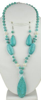 Amazon.com: Turquoise Drop Natural Stone Necklace & Earring Set: Jewelry