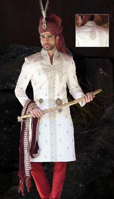 Quintessentially Bridegroom Sherwani, Groom Sherwani, Off White & Red, Jacquard, Wedding Sherwanis, Traditional Embroidered Sherwanis, Royal Classic Designer Sherwanis, Jodhpuri Rajasthani Sherwani, Mens Sherwanis.: