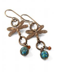 Vintaj - E0098 - Wandering Dragonfly Earrings