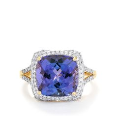 A sumptuous Ring from the Lorique collection, made of 18k Gold featuring 6.75cts of delightful AAA Tanzanite and dazzling Diamonds.