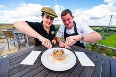 Bridget and Mark trying the Coconut Ice Rhubarb and Custard Yorkshire pudding