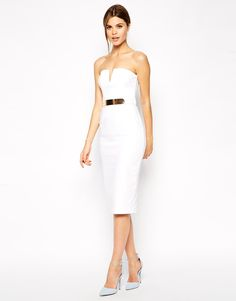 ASOS Plunge Bandeau Midi With Belt in White, £60