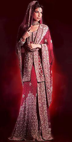 BW6883 Cardinal Red Sharara Pakistani bridal wears, wedding dresses by Top designers of latest pakistan fashion online shopping Bridal Wear