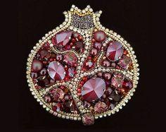 Pomegranate Brooch Beaded Pomegranate Jewelry Pomegranate