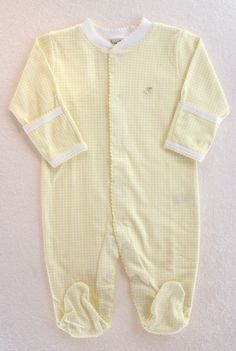 Gingham Footie in Yellow by Kissy Kissy