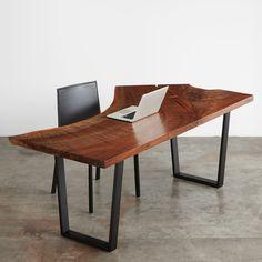 Walnut Single Slab Desk with black steel narrow sled base #UrbanHardwoods #SalvagedWood