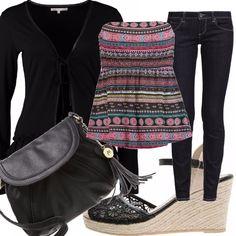 Dedicato+alle+lavoratrici+più+giovani+questo+outfit+che+presenta+un+paio+di+jeans+skinny+da+abbinare+ad+un+top+colorato+senza+maniche+ed+un+cardigan+nero.+Neri+anche+gli+accessori:+la+borsetta+a+tracolla+e+la+scarpa+con+la+zeppa,+in+tessuto+macramè.