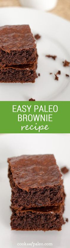 A quick and easy paleo brownie recipe to satisfy your chocolate craving. Make in a food processor — no bowls needed — and they are in the oven in 5 minutes. ~ http://cookeatpaleo.com