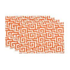 @Overstock - This set of four orange placemats with an intriguing, maze-like geometric pattern in cheerful orange and cream is sure to bring a decorative modern flair to any table. Made from 100-percent polyester, these durable placemats are easy to care for.http://www.overstock.com/Home-Garden/Oskar-Terrace-Persimmon-Orange-Geometric-Placemats-Set-of-4/6982170/product.html?CID=214117 $27.99