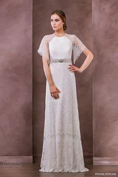 divine atelier wedding dress 2015 bridal flutter lace sleeves jewel neckline jeweled belt column gown serena