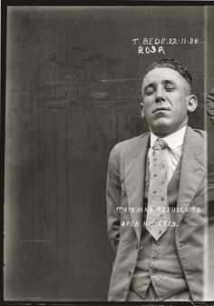This Man Refused To Open His Eyes / 22 November 1928, Central Police Station, Sydney.