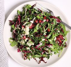 Kale, Arugula and Radicchio Salad with Pomegranates, Parmesan, and Lemon Vinaigrette