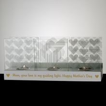 Glass Hearts Tealight Candle Holder for Mom