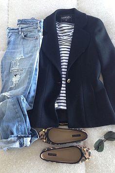 jeans, Chanel blazer, striped Saint James tee, Louis Vuitton ballet flats, Ray Ban sunnies.....